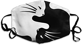 Health Comfort Unisex Mouth Mask, Adjustable Breathable Safety Anti Dust Pollution Mask, for Cycling Camping Skiing Travel Hospital Face Mask (Yin Yang Black and White Sleepy Cat)