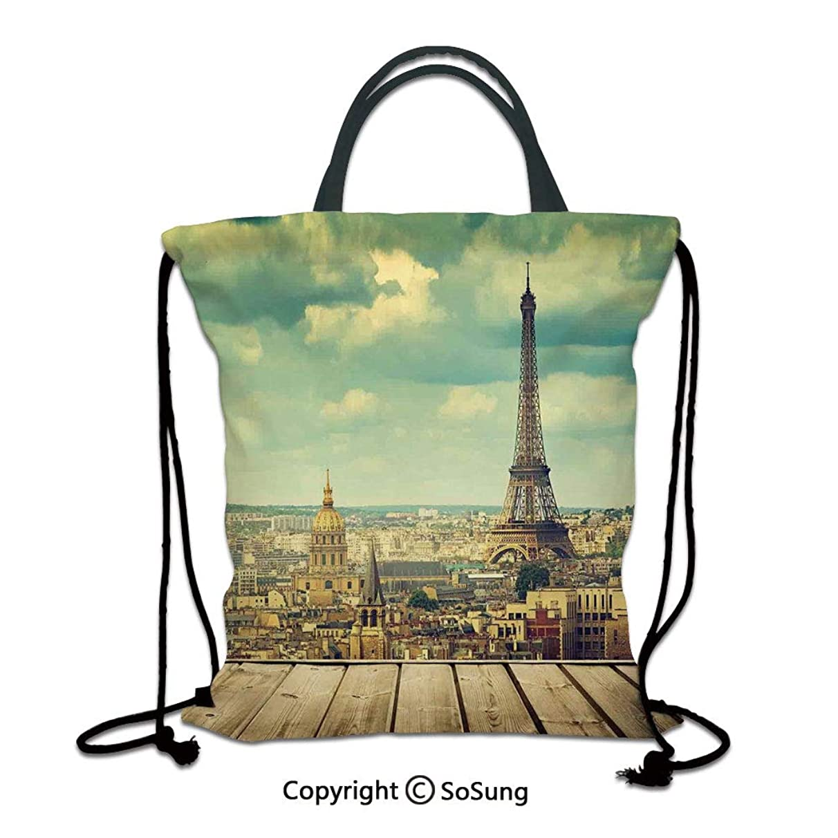 Eiffel Tower 3D Print Drawstring Bag String Backpack,Paris Cityscape with Eiffel Tower View from a Wooden Deck Table Urban Life Classic,for Travel Gym School Beach Shopping,Teal