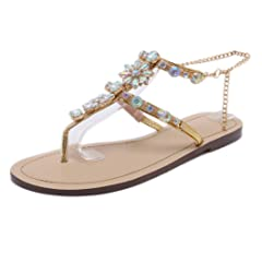b08660e704e1 Stupmary Women Flat Sandals Crystal Summer Gladiator Sandals .