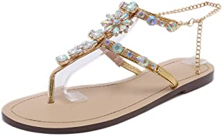 2ec923cbec2c Stupmary Women Flat Sandals Crystal Summer Gladiator Sandals Flip Flops  Beach Party Shoes Chains Floral