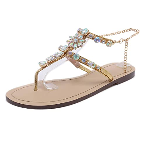 001bbe0d4bc5 Stupmary Women Flat Sandals Crystal Summer Gladiator Sandals Flip Flops  Beach Party Shoes Chains Floral Gold