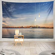 KJONG Sun City Skyline Gold Blue Water and Sky Vancouver City Cityscape Tokyo Life Washington Seattle Sydney Toronto Decorative Tapestry,60X60 Inches Wall Hanging Tapestry for Bedroom Living Room
