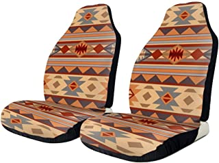 QBahoe Car Seat Covers Native Southwestern Design Brown American Protector Cushion Universal Bucket Seat Cover Fits Most Cars Truck SUV Van