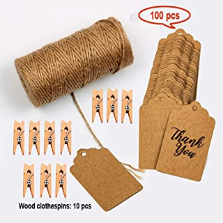 Jute Twine 328 Feet Natural Jute Rope and 10 Pcs Wood Clothespins with 100pcs Brown Rectangle Kraft Paper Gift Tags for DIY Crafts, Festive Decoration and Gardening Applications