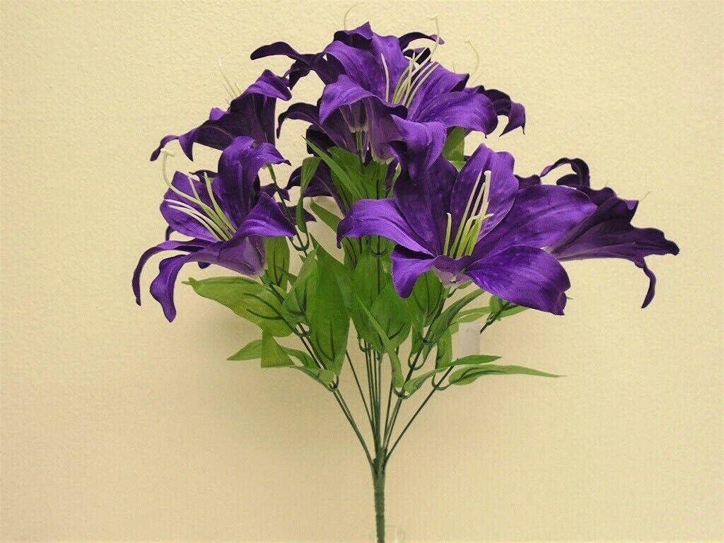 Purple Tiger Lily Bush Satin Gard Flowers Bouquet 19