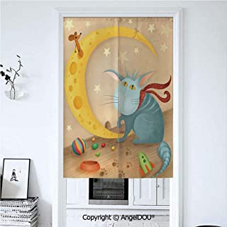 AngelDOU Kids Summer Automatic Closing Curtains Valances Cat and Mouse on Crescent Moon Shaped Cheese Cute Paws Toys Kids Children Cartoon Door Screen Partition Curtain 33.5x59 inches