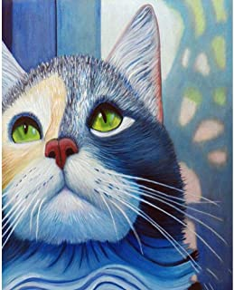 Diamond Painting Full Drill Art Kit DIY Cross Stitch DIY Arts Craft Wall Decor Cat Looking Up 11.8x15.7in 1 Pack by Light S Direct
