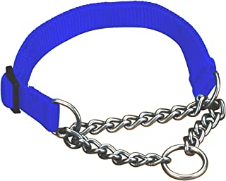 Hamilton 1 by 20 to 32-Inch Adjustable Combo Choke Dog Collar, Large, Chain and Blue Nylon