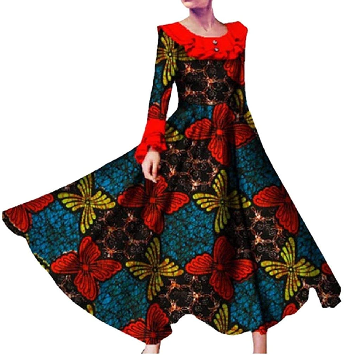 Joyccu Women's Party Plus Size African Dashiki Batik Long Sleeve Long Dress