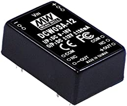 """Mean Well DCW03A-12 Power Supply Encapsulated Converter, 2 Output, 12 Volt, 0.125A/-0.125A, 8-Pin, 1.25"""" L x 0.8"""" W x 0.48"""" H"""