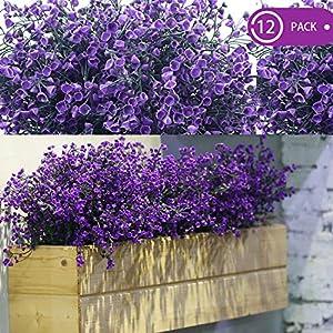 WILLBOND 12 paquetes de flores artificiales para exteriores, resistentes a los rayos UV, arbustos artificiales…