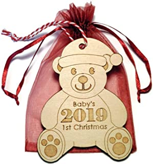 2019 Baby's 1st Christmas ornament - GIFT BAG INCLUDED - teddy bear Santa - 3.25 in x 4.25 in - Laser cut and engraved birch