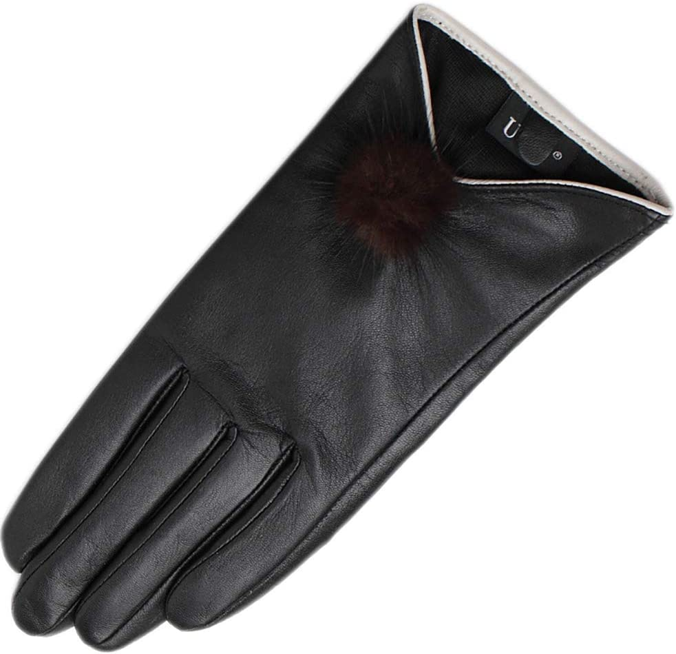 N / A Winter Gloves, Womens Genuine Leather Gloves, Winter 100% Leather Touchscreen Gloves Warm Cashmere Lining Packaging Driving Walking Cycling (Black)