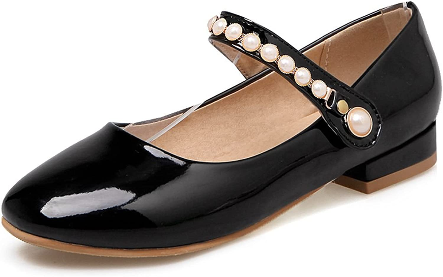 KingRover Women's Cute Pearl Hook and Loop Low Cut Mary-Jane Pumps with Ankle Strap