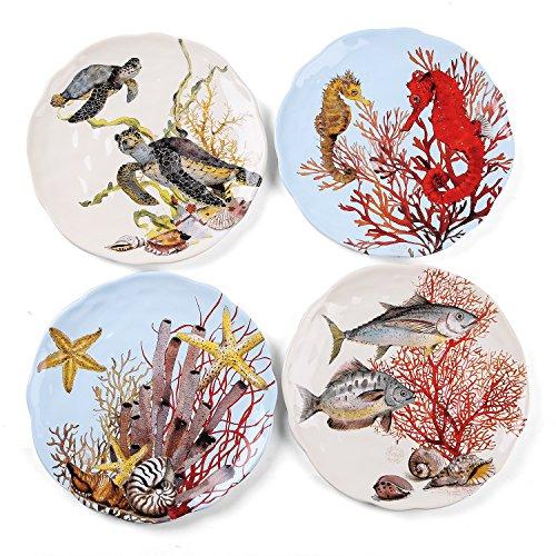 FORLONG FL8004 Ceramic Dinner Plates Set of 4 Kids Dinnerware Set - 8.5