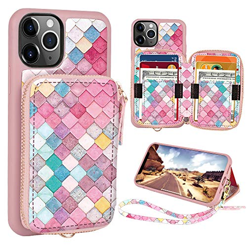 ZVE iPhone 11 Pro Max Wallet Case, iPhone 11 Pro Max Credit Card Holder Case, Wallet Case with Wrist Strap Handbag Purse Protective Leather Print Case for Apple iPhone 11 Pro Max 6.5'' -Mermaid Wall