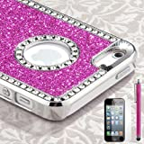 Pandamimi iphone 5 case - Deluxe Rose Pink Diamond Rhinestone Glitter Bling Chrome Hard Case Cover for Apple iPhone 5 5G + Screen Protector + Stylus