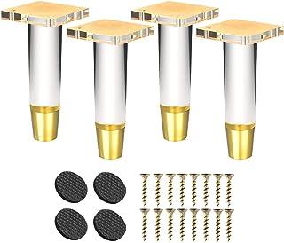Btowin - Patas de acrílico para muebles 4 unidades cristal transparente con base de latón y placa de montaje y tornillo...