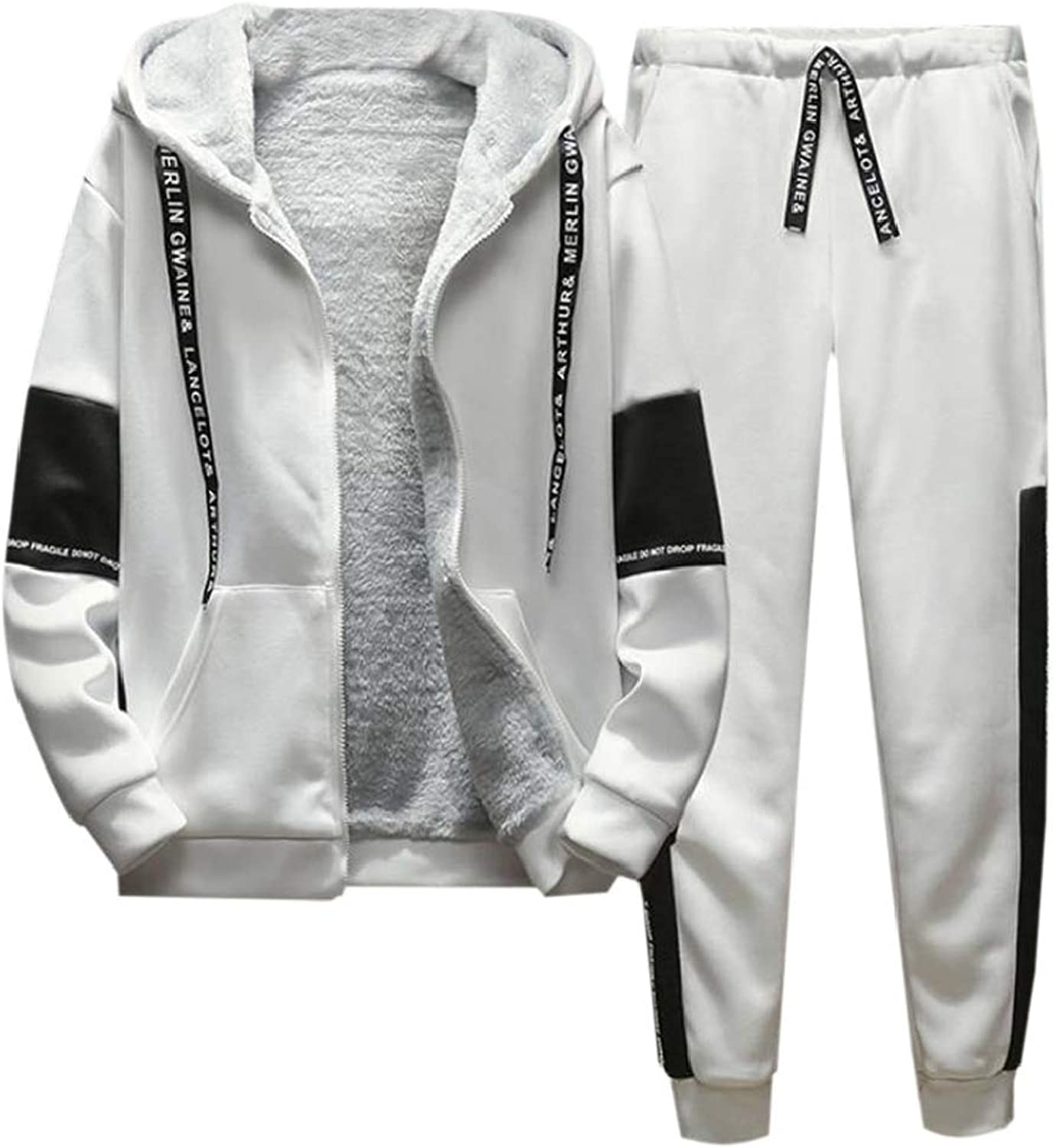 b81143056 Spirio Mens Linen Fleece Hooded Jacket Jacket Jacket 2 Pieces Sport Pants  Tracksuit Sweatsuit 32cadf