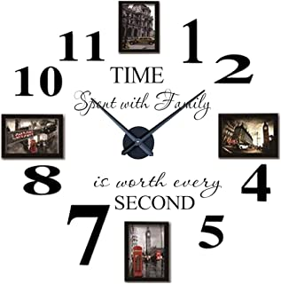 Reliable_E Inspirational Quotes Wall Sticker Photo Frame DIY 3D Wall Clock for Home Decor (black)