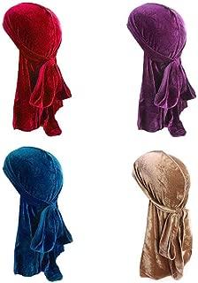 4Pack 360 Waves Cool Velvet Durag for Men Women Long Red Gold Blue Tan Mane Designer Du-RAG