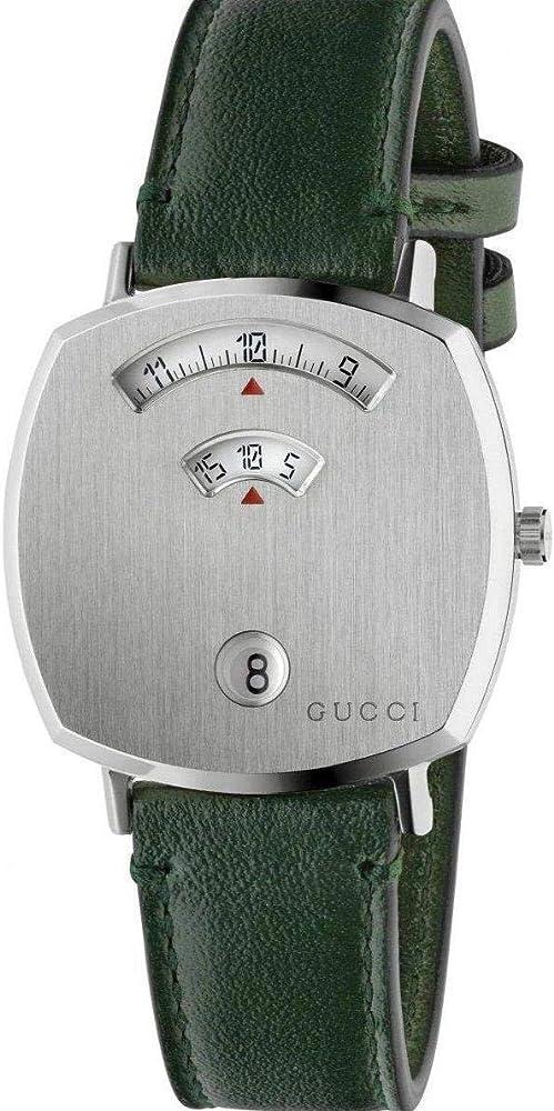 Gucci orologio grip, orologio unisex, cassa in acciaio inossidabile con cinturino in pelle verde YA157406