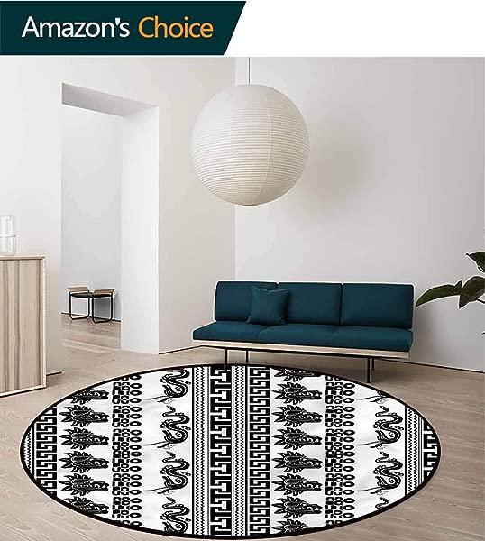 RUGSMAT Aztec Small Round Rug Carpet Mythological Ornate Figures Non Slip No Shedding Kitchen Soft Floor Mat Diameter 47