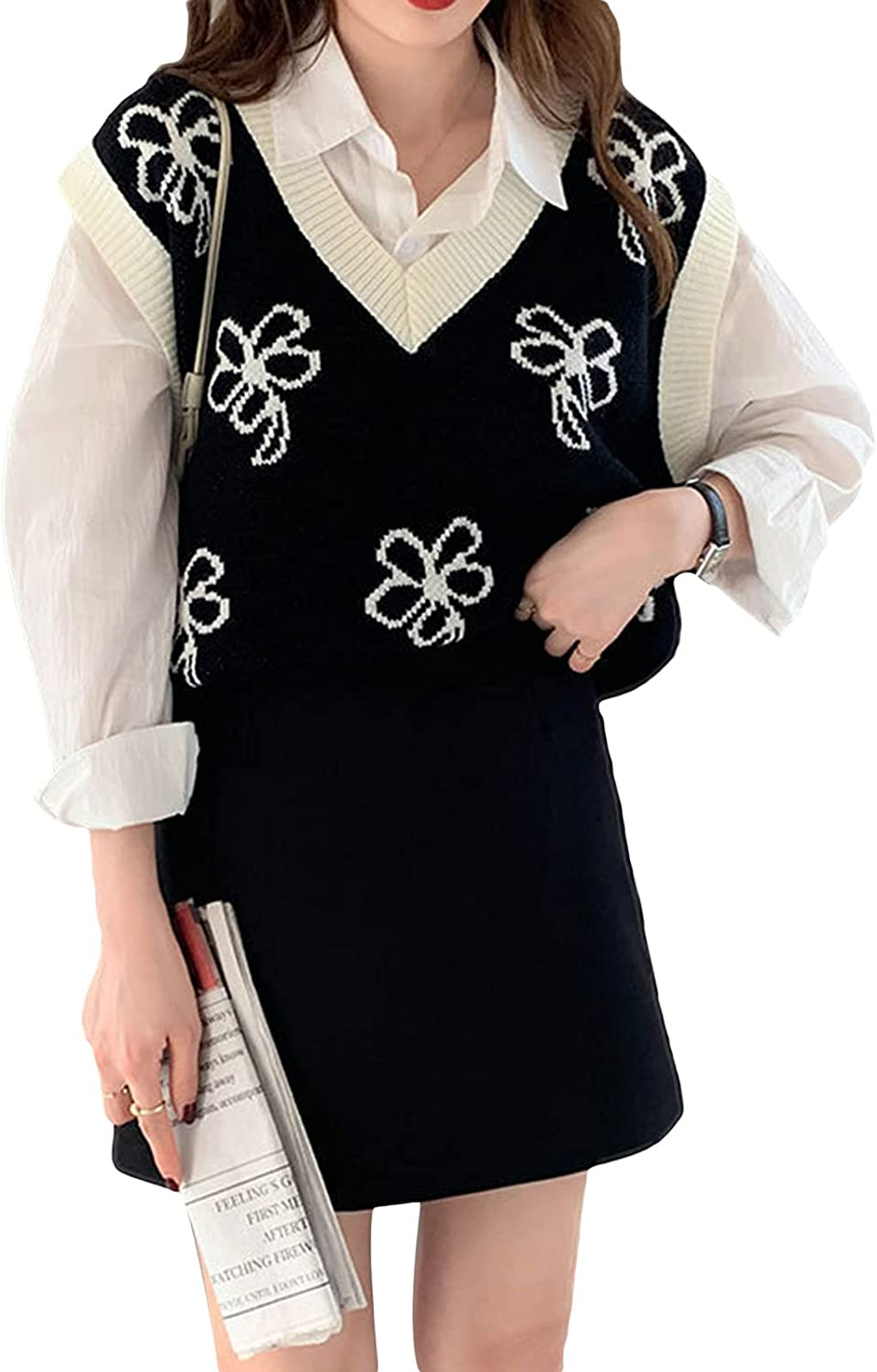 Womens Knitted Sweater Vest Fall Winter Sleeveless Floral Yinyang V Neck/Crew Neck Pullover Sweaters Top Outfit