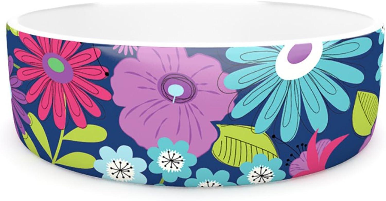 Kess InHouse Jacqueline Milton LulaAqua  Pet Bowl, 7Inch, Purple bluee