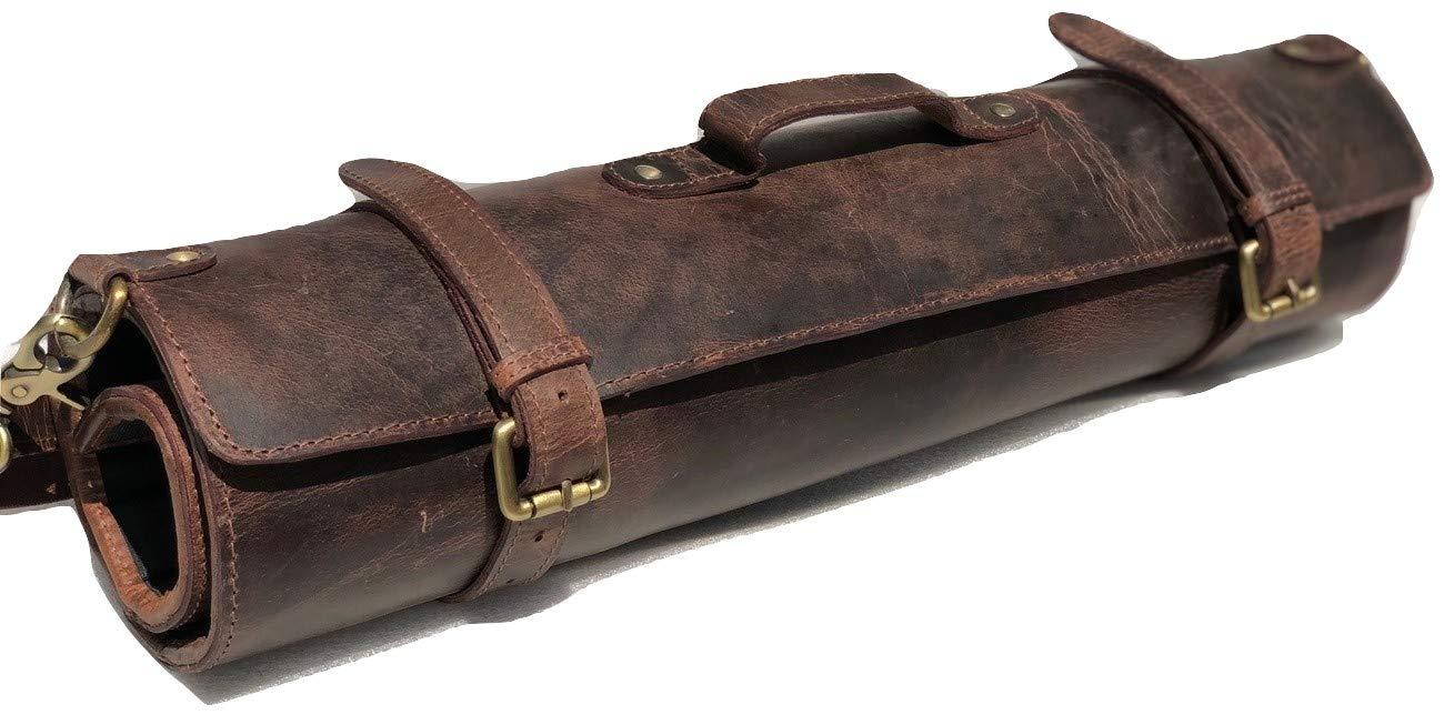 Estuche organizador de piel para cuchillos de chef, ideal para viajes, diseño vintage de búfalo: Amazon.es: Hogar