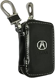 Cview New Car Key Wallet Zipper Case Black Leather Car House Office Key Chain Coin Holder Metal Hook Bag Collection For Acura Car Vehicle Auto Lover