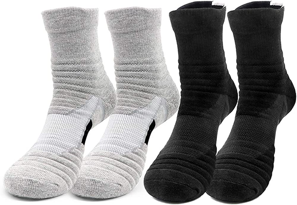 DILIBA Mens Running Ankle Socks Arch Support Breathable Basketball Athletic Outdoor Sports Soccer Hiking Crew Socks
