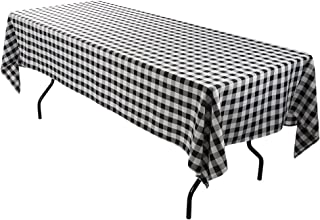 E-TEX Rectangle Tablecloth - 60 x 102 Inch - Black and White Rectangular Table Cloth for 6 Foot Table in Washable Polyester