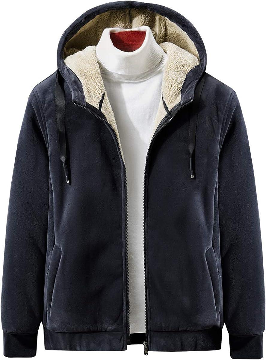 ELEFINE Men's Casual Sherpa Lined Full Zip Up Hoodies Fleece Sweatshirt Winter Warm Jacket Black