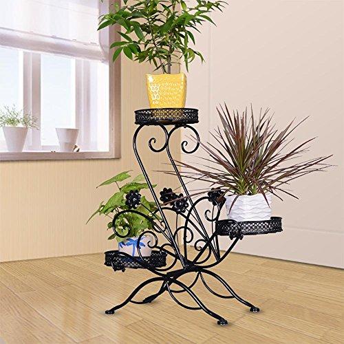 LLLXUHA 3 Schichtung Metall Blumenstand, Runden Topfpflanzen Pflanzenstand, Garten Terrasse Ausstellungsstand, Innen Dekorrahmen,21*61*68cm , Black