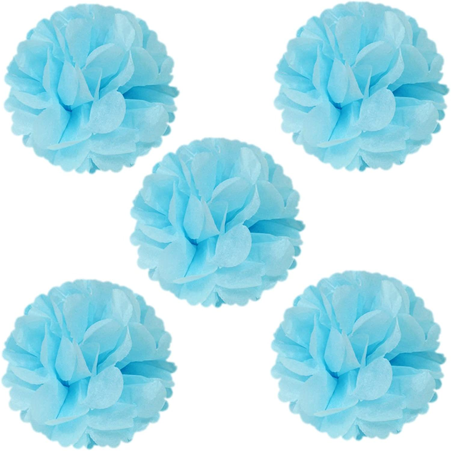 Allydrew 8  Set of 5 Tissue Pom Poms Party Decorations for Weddings, Birthday Parties Baby Showers and Nursery Décor, Light bluee