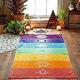 OYEFLY Rainbow Chakra Yoga Mat Sunscreen Shawl Hippy Boho Gypsy