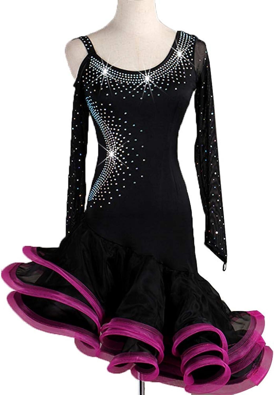 Professional Latin Competition Clothing Handmade Shiny Rhinestone Long-sleeved Stretch Zumba Tango Cha Cha Classic Dance Natural Dresses