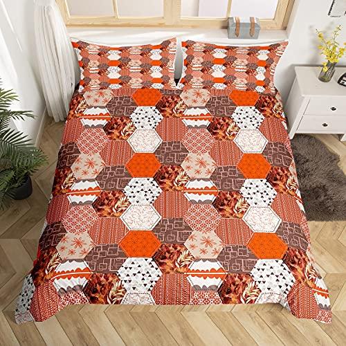 Funda de edredón geométrica de nido de abeja, juego de cama con patrón de 3 piezas para niños y adolescentes, bohemia vintage rayas funda de edredón suave para decoración de dormitorio, color naranja