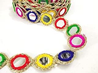 Mirror Work Border by 9 Yard - Multi Gota Patti Lace,Glass Beads,Stone Work Bollywood Sari,Wedding Saree Border Embroidered Ribbons Indian Trim Embellishmets