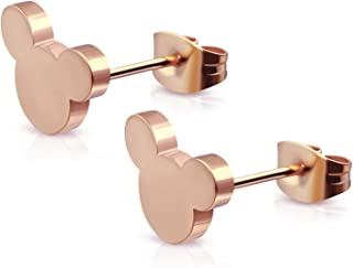 Stainless Steel Tiny Mouse Silhouette Button Stud Post Earrings