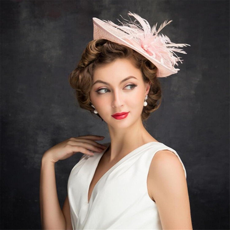European Fascinator Linen Pink Top Hat Wedding Accessories Royal Party Hat
