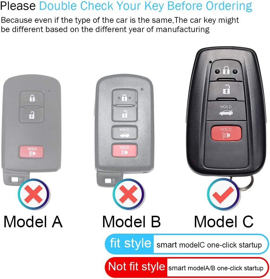 4Buttons Keyless Smart Key Fob Holder. only for Keyless go for Toyota Key Fob Cover Case,Genuine Leather Key Case Cover Protector Compatible with 2018-2020 Toyota RAV4 Camry Avalon C-HR Prius Corolla
