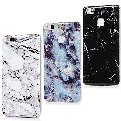 Lanveni Custodia protettiva per Huawei P9Lite, in morbido silicone e bordi in TPU (poliuretano termoplastico), motivo: marmo, 3 pezzi, bianco + blu + nero