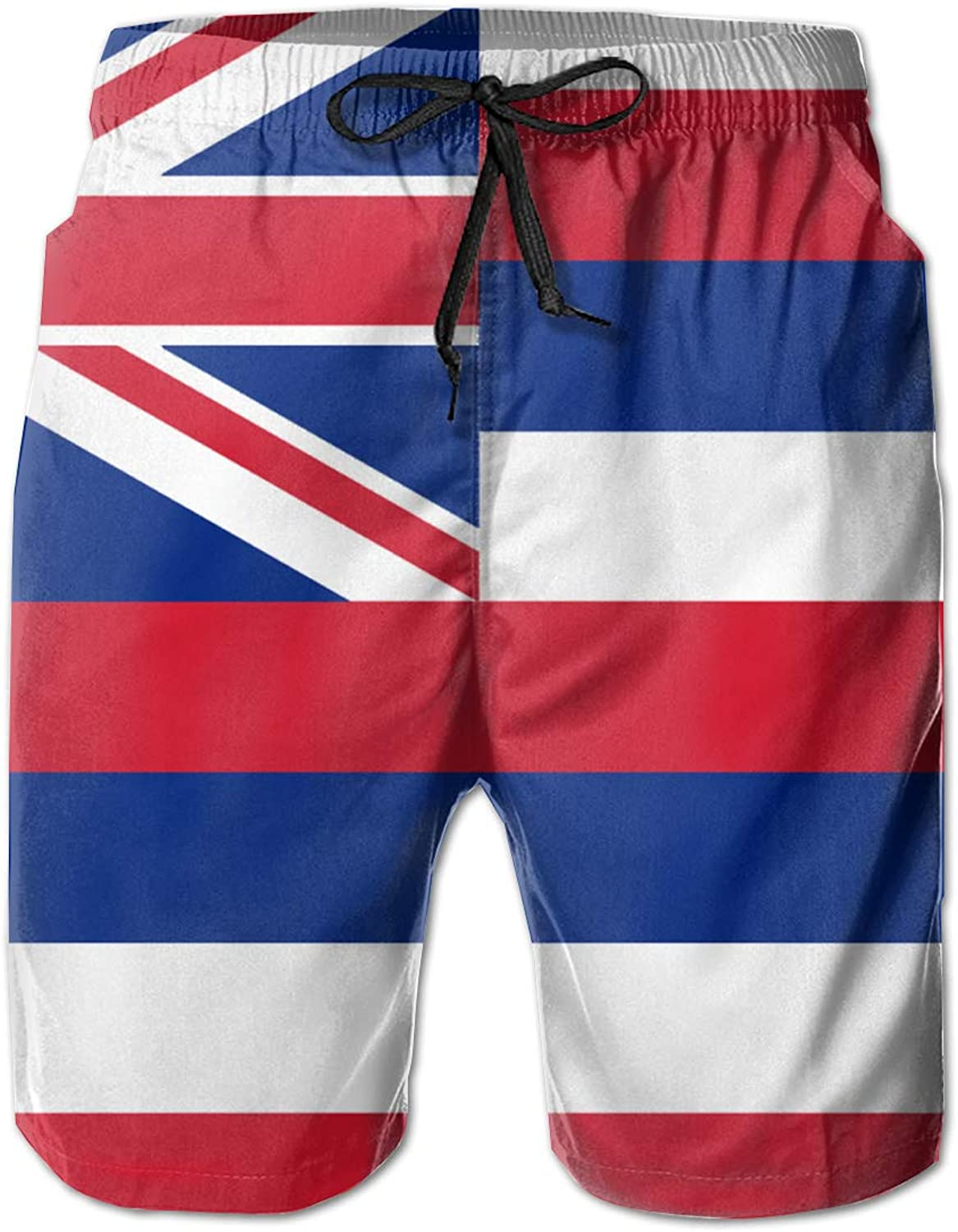 3a8ed72168d ROLLING HOP Men's Cool Swim Trunks Hawaii State State State Flag Swim Board  Shorts for Outside Home with Pockets 66379e