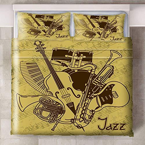 Funda Nórdica Conjunto,Ababilart Retro Instrumentos Musicales Guitarra Batería. 260X240 Cm De Tamaño Mediano 3D Estampado Juego De Cama 3 Piezas Funda Hipoalergénica De Tejido De Microfibra Para Niños