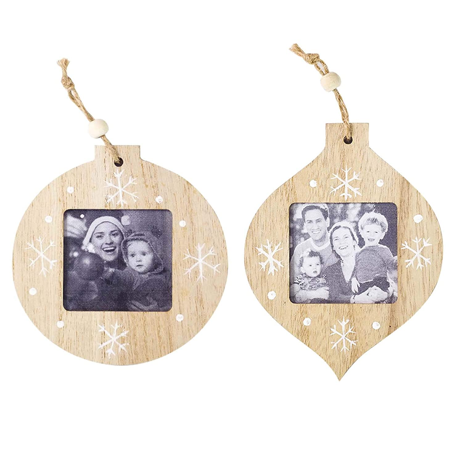 アナニバーブローホール権威ゴシレ Gosear 2本のクリスマスの木製の写真の写真フレームクリスマスツリーペンダントの装飾を吊るすクリスマスホームデコレーション