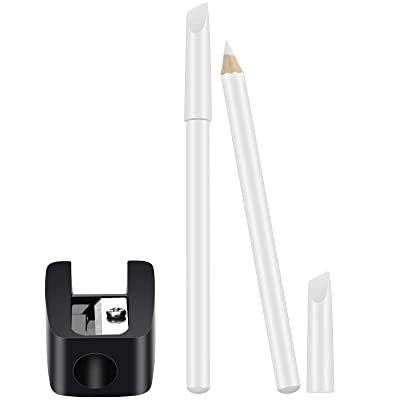 2 Pieces White Nail Pencil and Pencil Sharpener Set