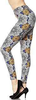 Forever Heather Women's Printed Leggings High Waist Tummy Control Stretchy Pant Yoga Workout Fitness Fashion L1