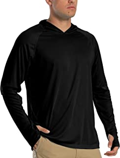 Men's Long Sleeve UPF 50+ Hoodies Sun Protection T-Shirts with Thumb Holes
